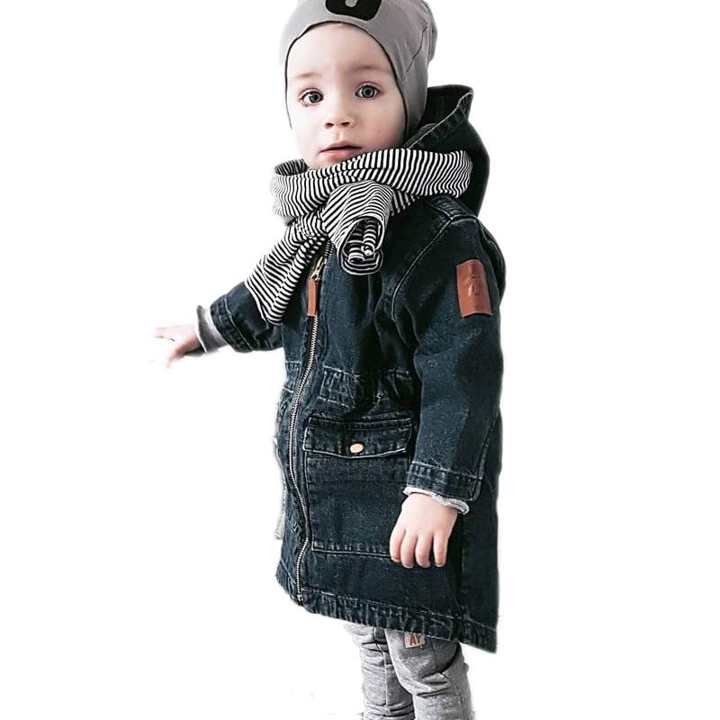baby boy girl denim jackets 2017 new autumn winter kids coats solid Removable hooded children jeans jackets children outwear