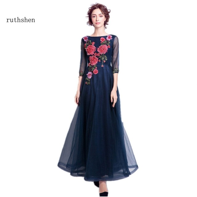 ruthshen Elegant Prom Dresses 2018 Flowers Emboridery 3 4 Sleeves Evening  Gowns Cheap Ladies Ruched Tulle Formal Dress c6b29982a4c7