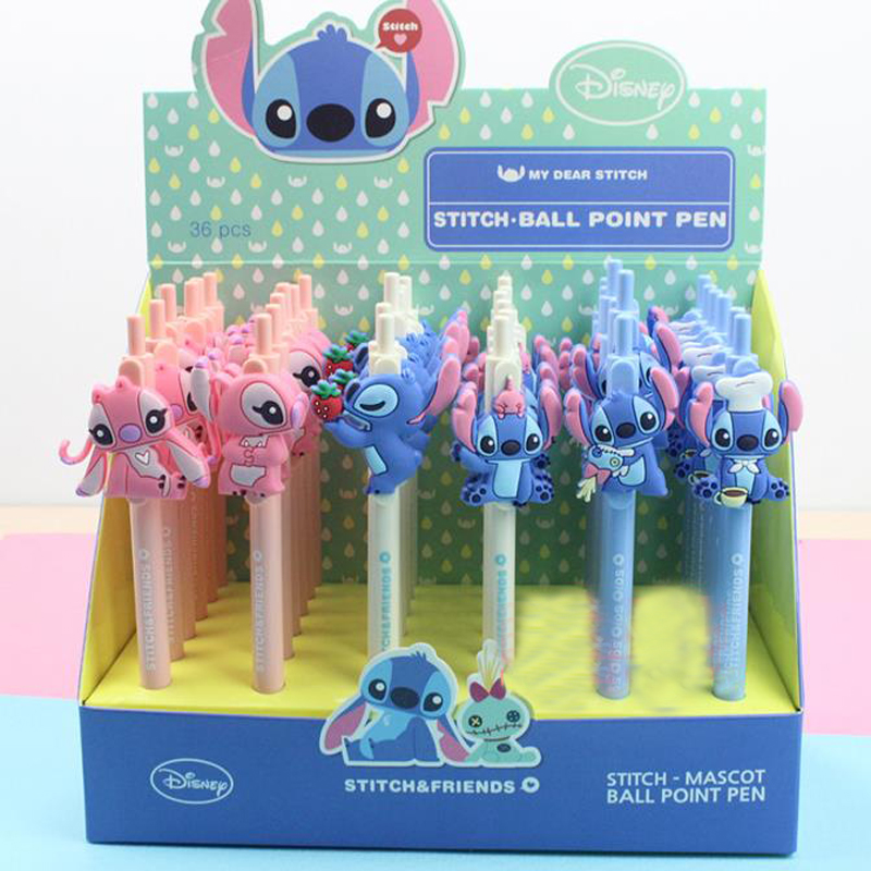 4 Pcs Cute Lilo and Stitch Ballpoint Pen Kawaii Cartoon Writing Ball Pens Office School Supplies Gift for Kids