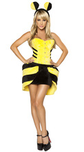 2017 Cute wave point Bee costume Cosplay Cosplay Bee costume loaded night DS  sexy clothing European  game uniform