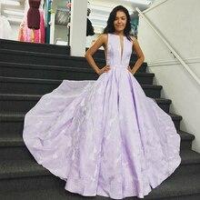 Bbonlinedress A-Line Floral Printing Prom Dress V Neck Evening Vestido de fiesta 2019 noche Party