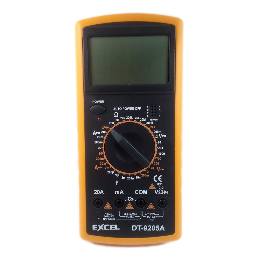 Profesionalus skaitmeninis multimetras Multimetro EXCEL DT9205A AC DC ampermetras voltmetras talpos varžos testeris skaitiklis multitesteris