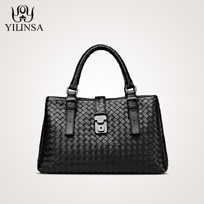 New sheepskin leather ladies knitting handbag Handmade Handbag Shoulder Bag Messenger Bag bag Rome tide