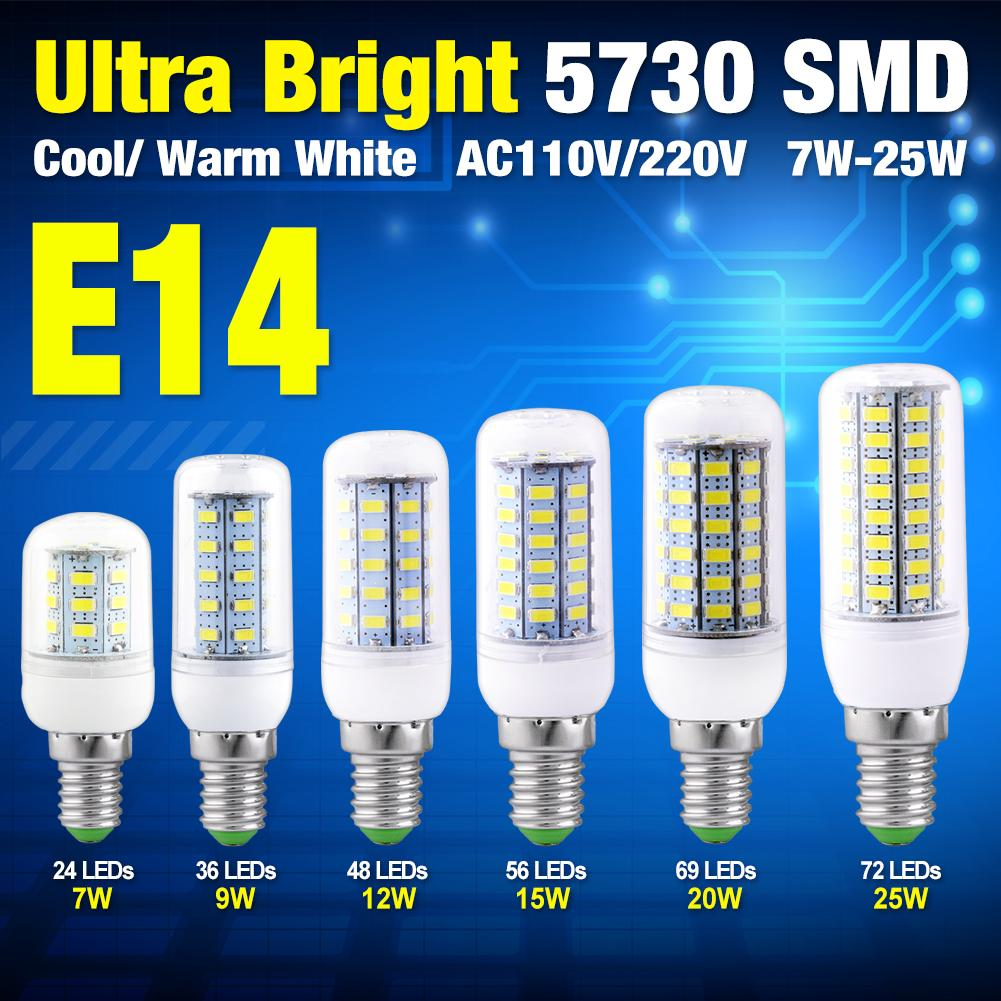 E14 LED 110V Corn Bulb AC 220V Lamps 24 36 48 56 69 72leds Bombillas ...