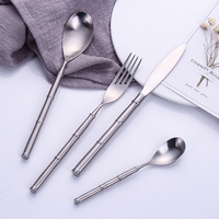 Hot Sale 4 pieces Bamboo type silver Dinnerware 304 Stainless Steel Western Cutlery Kitchen Food Tableware Dinner Set