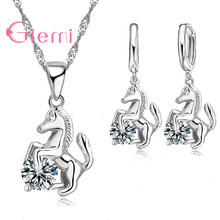 Best Trendy Horse Design Pendant 925 Sterling Silver Fine Jewelry Cubic Zircon Necklace Earring For Women Wedding Set Gift(China)