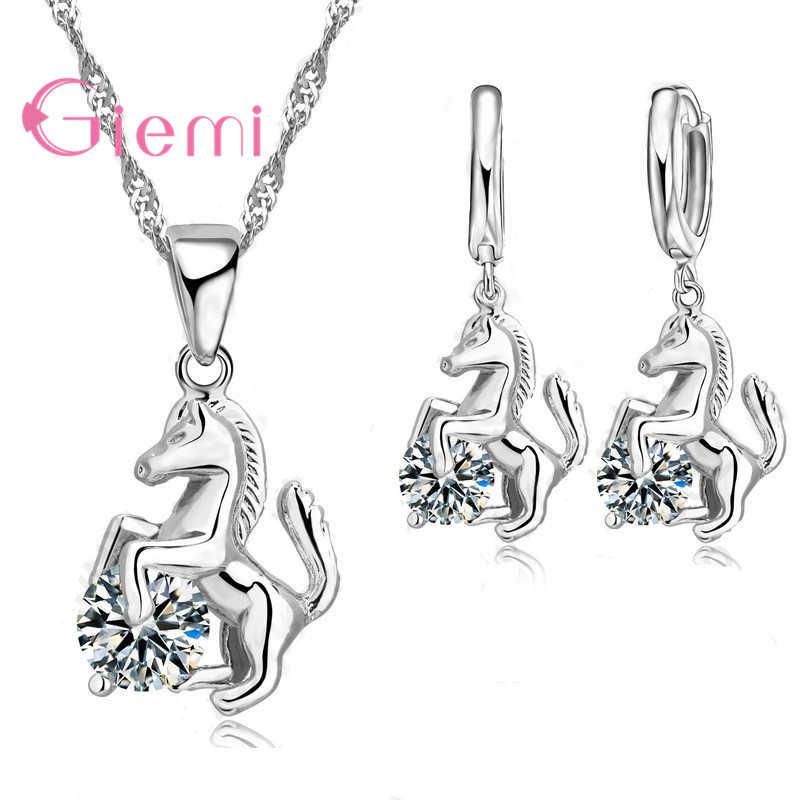 Best Trendy Horse Design Pendant 925 Sterling Silver  Fine Jewelry Cubic Zircon Necklace Earring For Women Wedding Set Gift