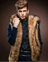 2017 Fashion Winter Men Fur Vest New Thick Fur Hooded Vests Men Waistcoats Males Sleeveless Outerwear