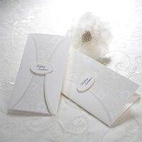 Yeni Stil Çiçek Beyaz zarif Düğün Davetiyeleri Kartları Pirnt Boş Kağıt Kartı dantel Desen Zarf + Mühür Sonrası