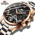 HAIQIN Homens clássico Relógio Mecânico Automático de Negócios de luxo homens Relógio Turbilhão Masculino À Prova D' Água relógio de Pulso Relogio masculino