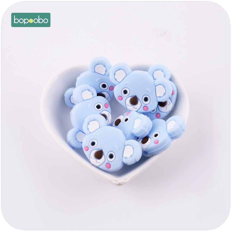 Bopoobo Cute Silicone Teething Koala 3pcs Lovely Mini Koala Accessories Jewelry Making DIY Silicone Beads Baby Teether