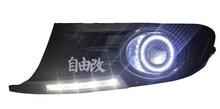 LED DRL בשעות היום ריצת אור + COB מלאך העין (5 צבעים) + מקרן עדשה + הלוגן ערפל מנורה עבור פולקסווגן פולקסווגן גולף 6 MK6