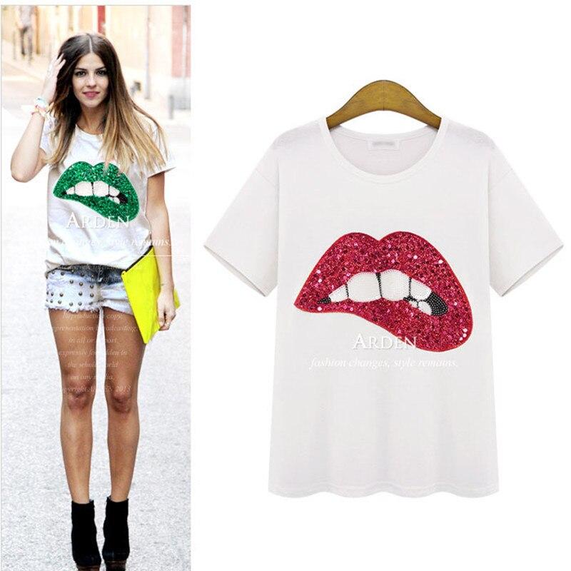 2018 Summer Women T Shirt Bling Shiny Sequin Lip Design
