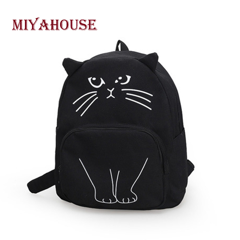 Miyahouse Lovely Cartoon Cats Design Backpack Women Korean Casual Canvas Backpack Female Candy Color Travel Rucksack