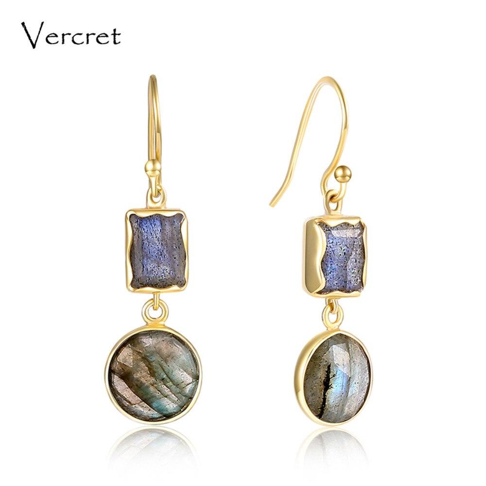 Vercret 18k gold 925 sterling silver gem labradorite drop earring jewelry gift for women