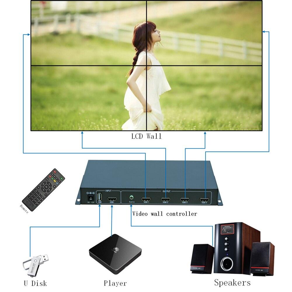 2x2 mur Vidéo contrôleur pour 4 LCD TV, TV mur processeur pour 4 unité USB + HDMI HDMI Avec Entièrement-Traitement numérique Chann TuuKoo