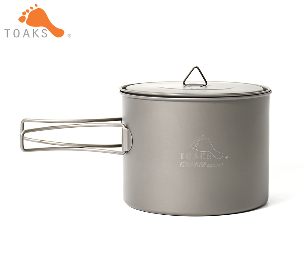 TOAKS POT 1300 Pure Titanium Camping Cookware Outdoor Pots Can be Used As a Cups Bowls