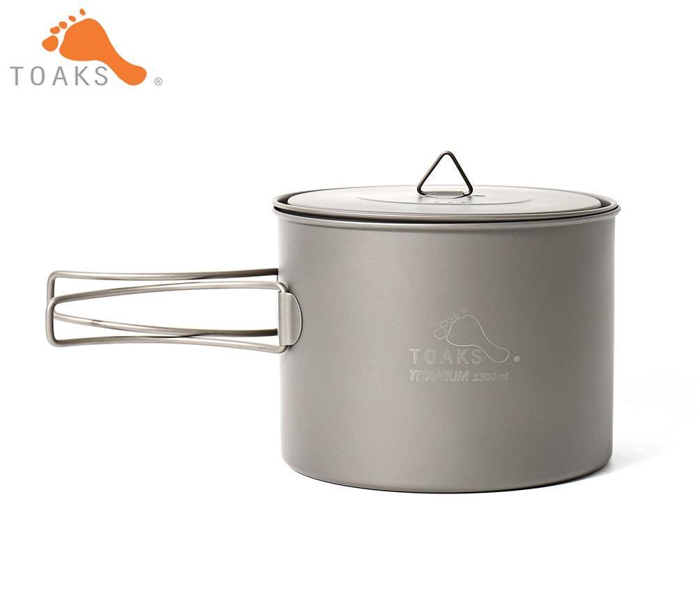 TOAKS POT-1300 pur titane Camping ustensiles de cuisine en plein air Pots, peut être utilisé comme tasses, bols et casseroles 1300 ml 133g