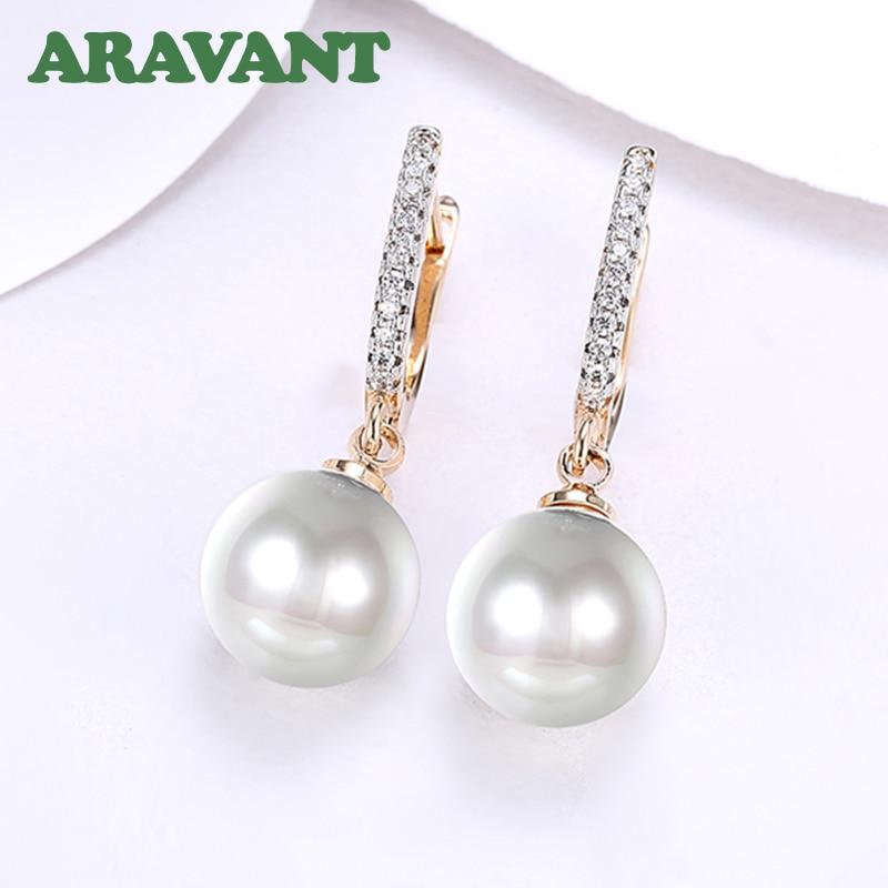 New Arrival Women Pearls Drop Earrings With White Zircon Earring Romantic Party Wedding Jewelry in Drop Earrings from Jewelry Accessories