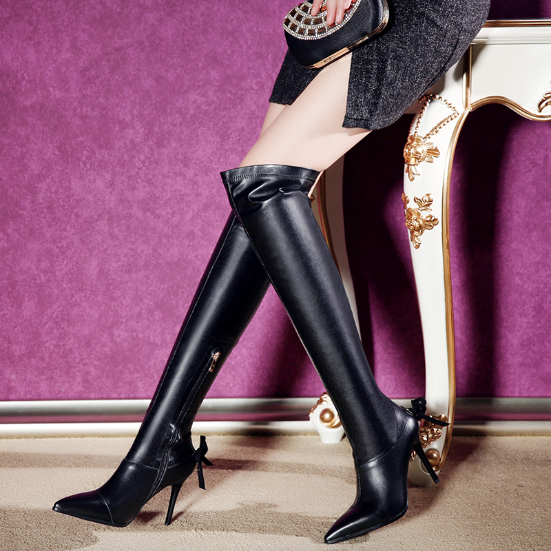 ФОТО 2016 Winter Women's High Heel Knee High Boots Real Leather Stretch Slip-on Tall Boots for Women Sexy Ladies Pointed Shoes Women