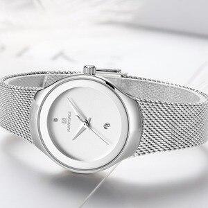 Image 5 - Zegarki damskie NAVIFORCE Top luksusowa marka Lady Fashion Casual prosty stalowy siatkowy zegarek na rękę z paskiem, bransoletą prezent dla dziewczyn Relogio Feminino