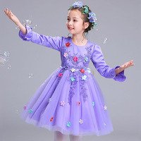 Autumn Winter 2017 Girl Dress Children Clothing Pink Wedding Party Girls Dresses First Birthday Clothes Princess
