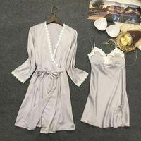 גלימות כותנות לילה תחרה פרחוני סאטן V-צוואר מלא שרוולי אופנה מתכוונן נשים Nightwear איכות גבוהה נקבה 2017