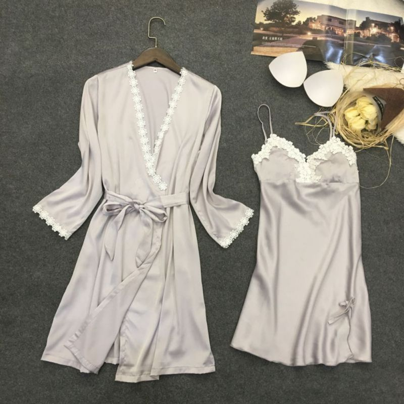Fashion Lace Floral Satin Nightgowns V-Neck Full Sleeves Robes Women Adjustable Nightwea ...