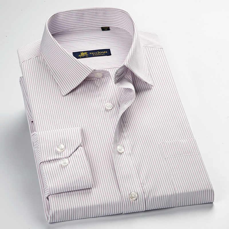 工場販売高品質 2019 イージーケア新プラスサイズ長袖ストライプ男性ドレスシャツ 5xl レギュラーフィット非鉄簡単ケア