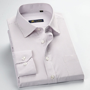 Image 3 - عالية الجودة جديد الصيف/الربيع حجم كبير S ~ 5xl طويلة الأكمام مخطط الرجال فستان قمصان منتظم صالح غير الحديد سهلة الرعاية