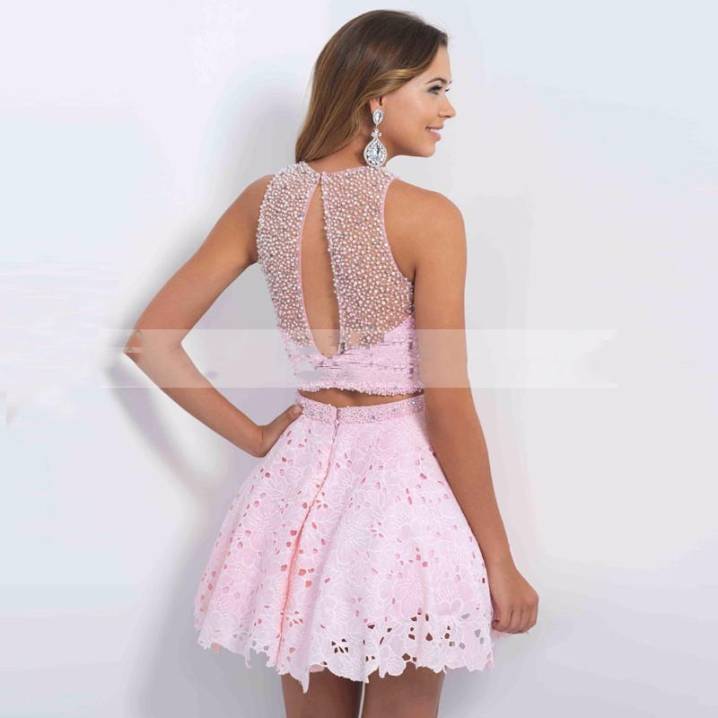short shiny dress Pink Beaded Cheap Cute 8th Grade Short 2 Two Piece ...
