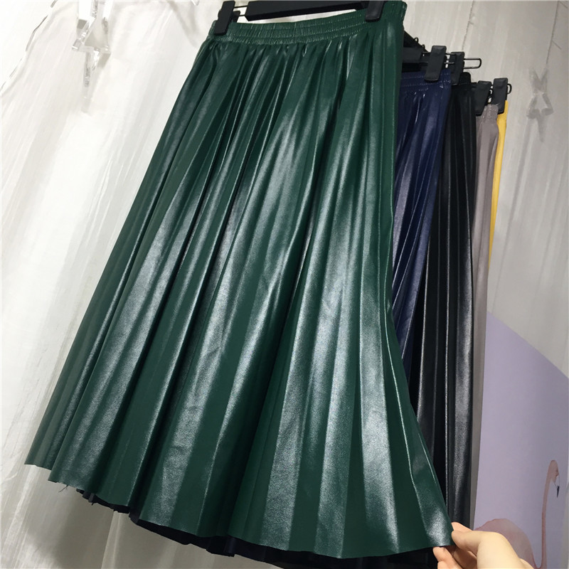 2018 11 11 PU Accordion Pleated Skirt Autumn & Winter New Style Leather Skirt High Waist Faldas Largas Elegantes Free Shipping 14