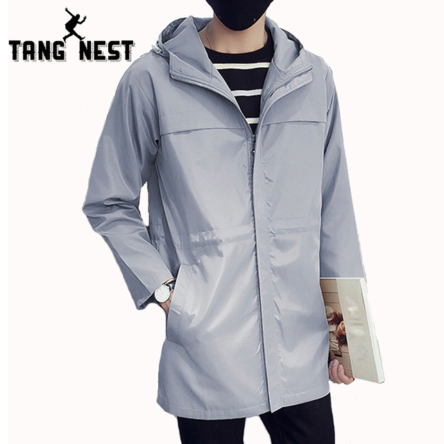 931a2224b371 TANGNEST Fashion Long Trench Coat Men 2018 New Autumn Casual Coat Hooded  Men Solid Color Long Loose Coat Trench Men MWF293