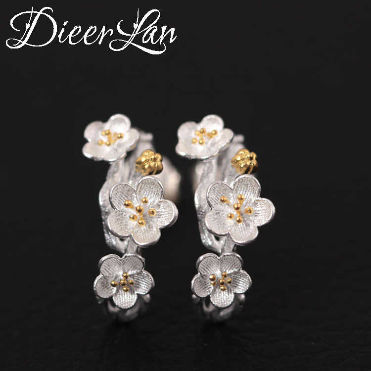Hot Sale 925 Sterling Silver Plum Flower Earrings For Women Fashion Jewelry sterling-silver-jewelry pendientes
