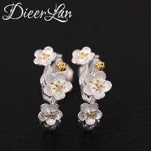Hot Sale 925 Sterling Silver Plum Flower Earrings For Women