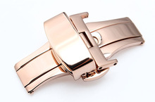 Promoción de implementación de cierre hebilla de mariposa Correa de piel de Acero Rosa de oro hebilla de dos botones moda accesorios de actualización