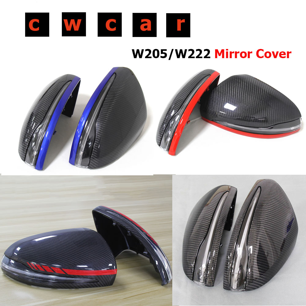 Carbon Fiber Mirror cover For <font><b>Mercedes</b></font> W205 <font><b>W222</b></font> W213 W238 X205 for Benz C <font><b>S</b></font> GLC E <font><b>Class</b></font> AMG 1:1 Replacement Style AMG Only LHD image