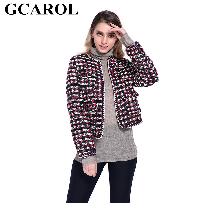 GCAROL Fall Winter Twist Worsted Plaid Vintage Jacket Covered Button 4 Pockets Short Thick Plaid OL Coat Outwear