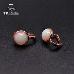 Image 3 - TBJ,925 ayar gümüş gül rengi küçük toka nokta küpe doğal renkli opal taş basit stil takı kızlar için