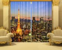 Photo Print stereoscopic 3d Curtains The Eiffel Tower in Paris, France at night printing 3d window curtain