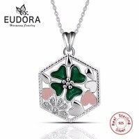 Eudora 100% 925 Sterling Silber Hexagon Grünen Klee Anhänger & Halsketten CZ Rosa Weiße Blume Frauen Braut Schmuck Romantische Geschenk