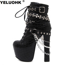 Brand New Rivet Chains Women Ankle Boots Women Extreme High Heels Fashion Motorcycle Boots Women Pumps