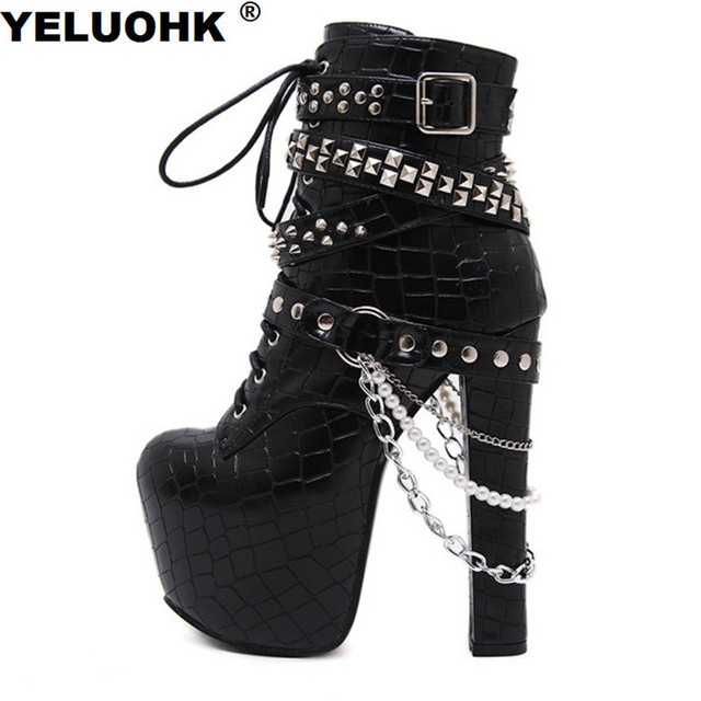 Women'S Boots Short Chains And Rivet