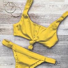 2018 New Bowknot Bikini Set Swimsuit Bathing Suit Button Swimwear Beachwear For Women
