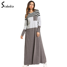 Siskakia stripe patchwork maxi Dress Cotton Full sleeve Women T shirt Dresses Long color block Pocket patch Muslim Wears Female color block single pocket t shirt