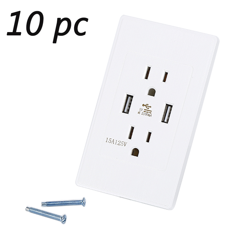 10 Pc Dual USB Port Wall Charger Adapter Charging 2.1A