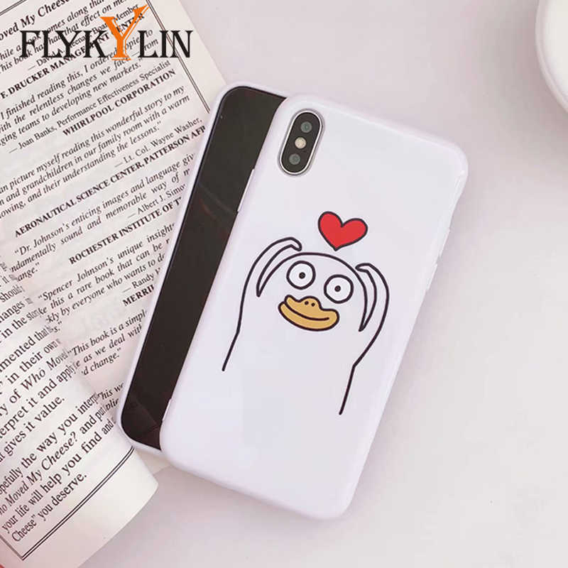 best website 2715a 04f35 FLYKYLIN Cartoon Duck Phone Case For iphone X Case For iphone 6S 6 7 8 Plus  Cute Emoji Back Cover Glossy Soft TPU Silicone Cases