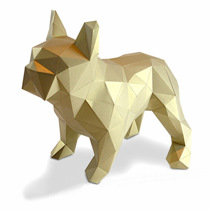 DIY Home Decoration Cute Bulldog Paper Model Puzzles Toy Pit Bull Puppy Animal For Restaurant Bar Waterproof Educational Model