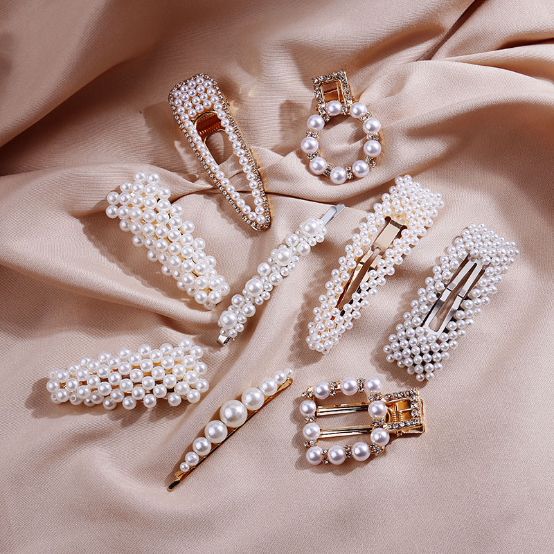 Snap Pearl Hair Clips Aligator Hair Clamp Rhinestone Hairpin For Women Girls Hair Styling Accessories Korean Bobby Pins Barrette