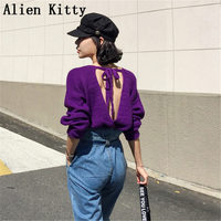 Alien Kitty Fashion Winter Warm Sweater Backless Sweet Woman Knitted Casual Outerwear Sweater Stylish Lazy Style Sexy Slim Loose